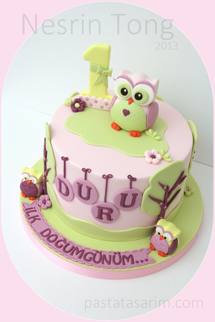 Owl First Birthday Cake Duru Cake By Nesrn Tong Flickr