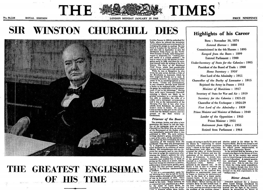 24th January 1965 Death Of Sir Winston Churchill Flickr