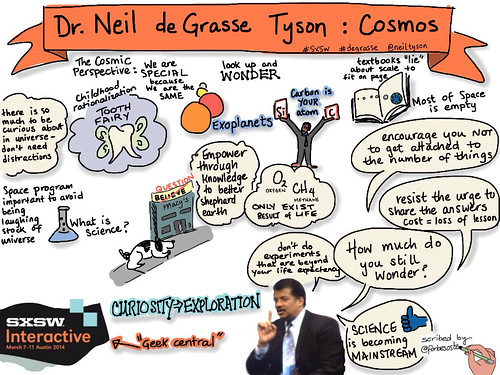 Sketchnotes Neil deGrasse Tyson from Cosmos keynote at SxSW by @forbesoste | by ForbesOste