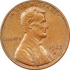 1982-D Small Date Cent Error obverse