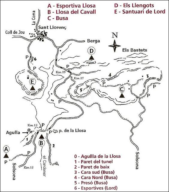 La vall de lord - Sectores escalada de la zona Sur del valle - Fuente Roca i Neu