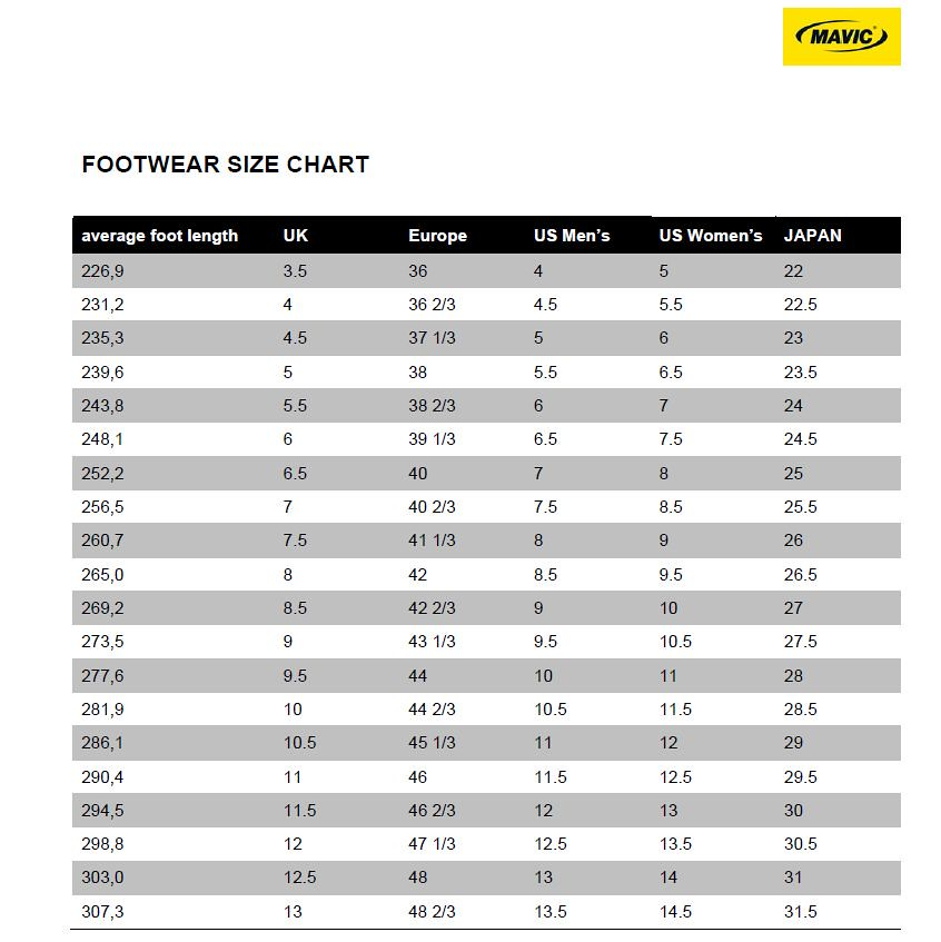 Waist Conversion Size Chart: Mavic Shoe Size Chart | Glory Cycles | Flickr,Chart