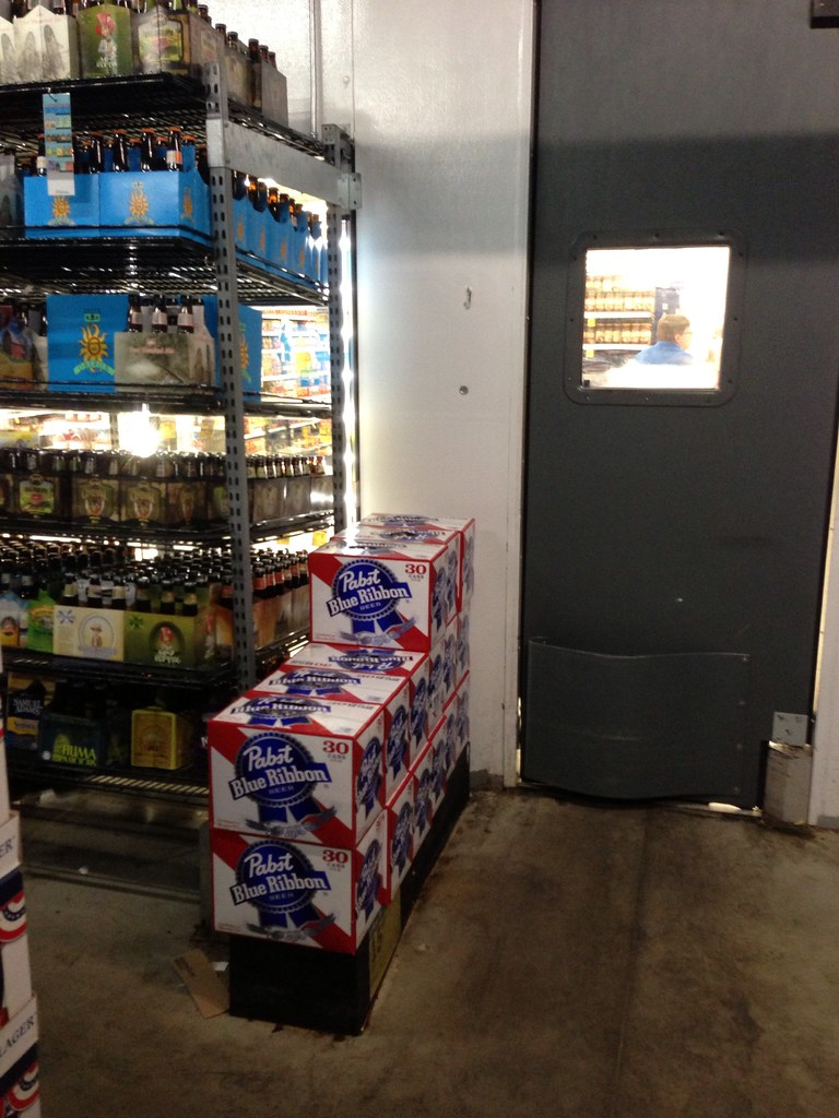walk in beer cooler at meijers with pbr right by the door flickr