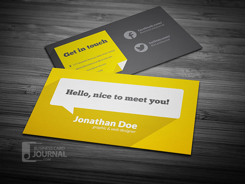 Flat Design Business Card Template With Long Shadow Flickr - Graphic design business card templates