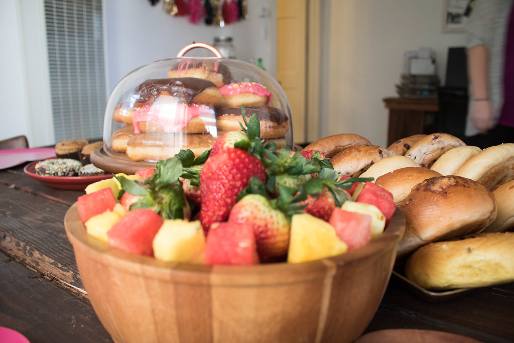 Fruit and bagels