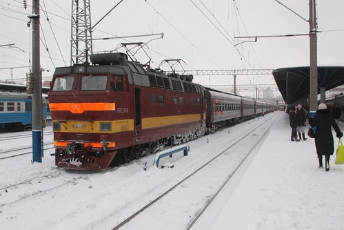 ЧС4T (ChS4T) electric locomotive ЧС4T 317 with a passenger train