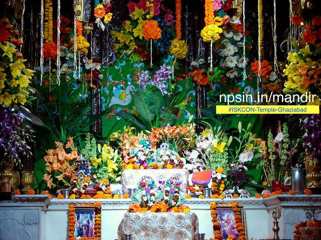 Main deity Shri Radha Mohan Ji on the right side platform.