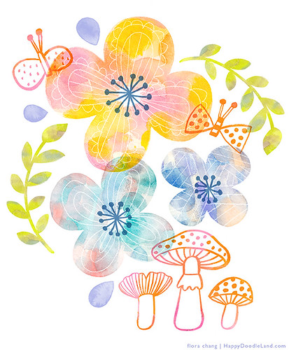 Watercolor Flowers | by Flora Chang | Happy Doodle Land
