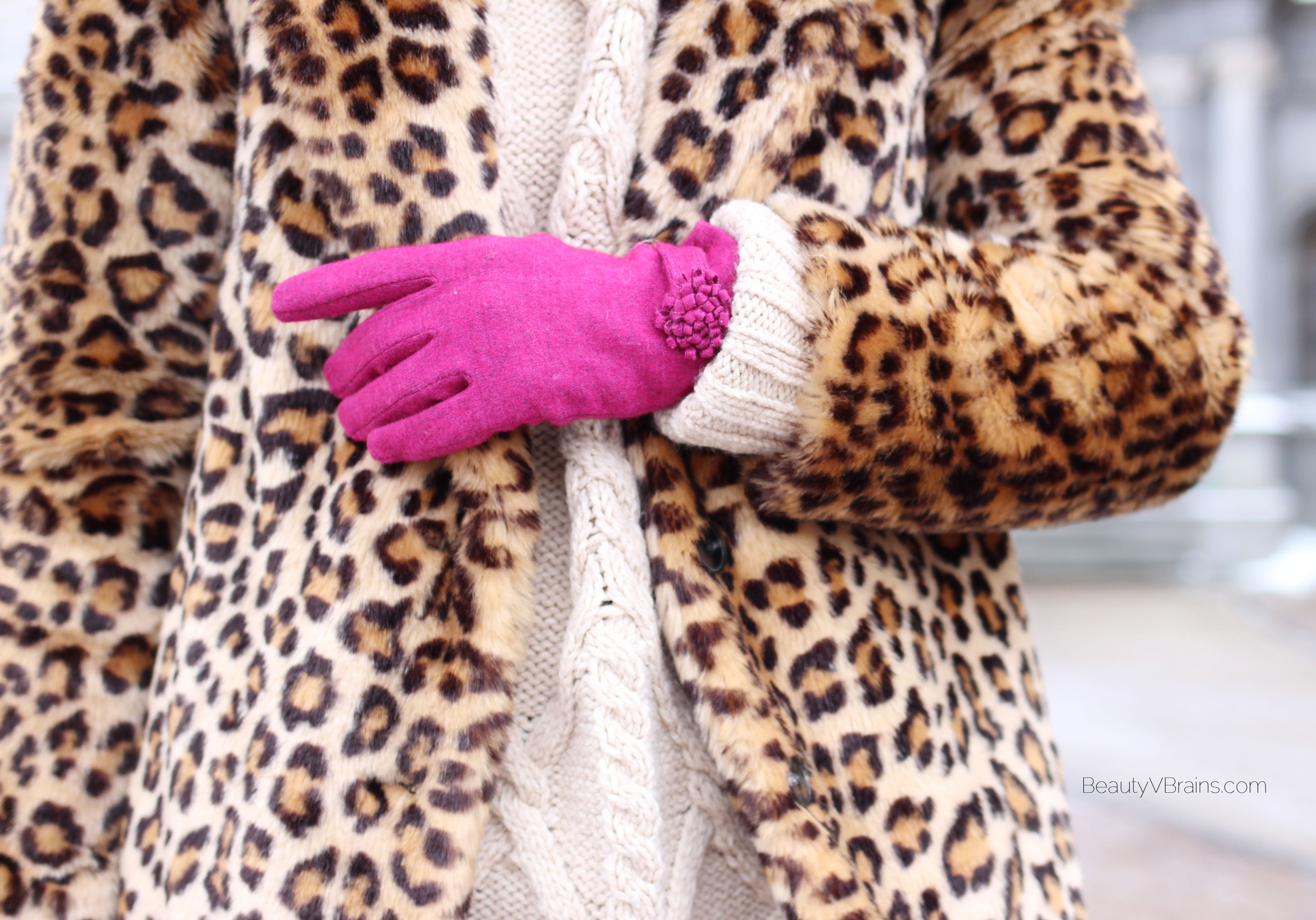 Hot pink pom pom gloves