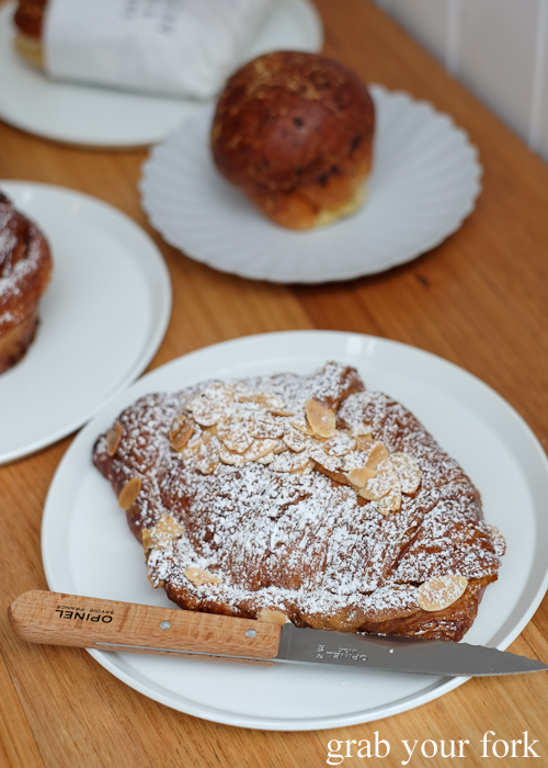 Almond croissant at Pigeon Whole Bakers in Hobart Tasmania