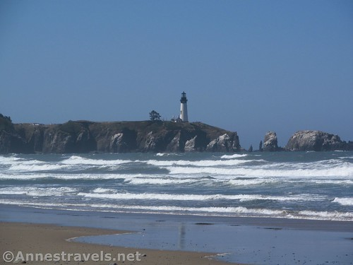 Close up of the Yaquina Head Light from near Schooner Point, Oregon