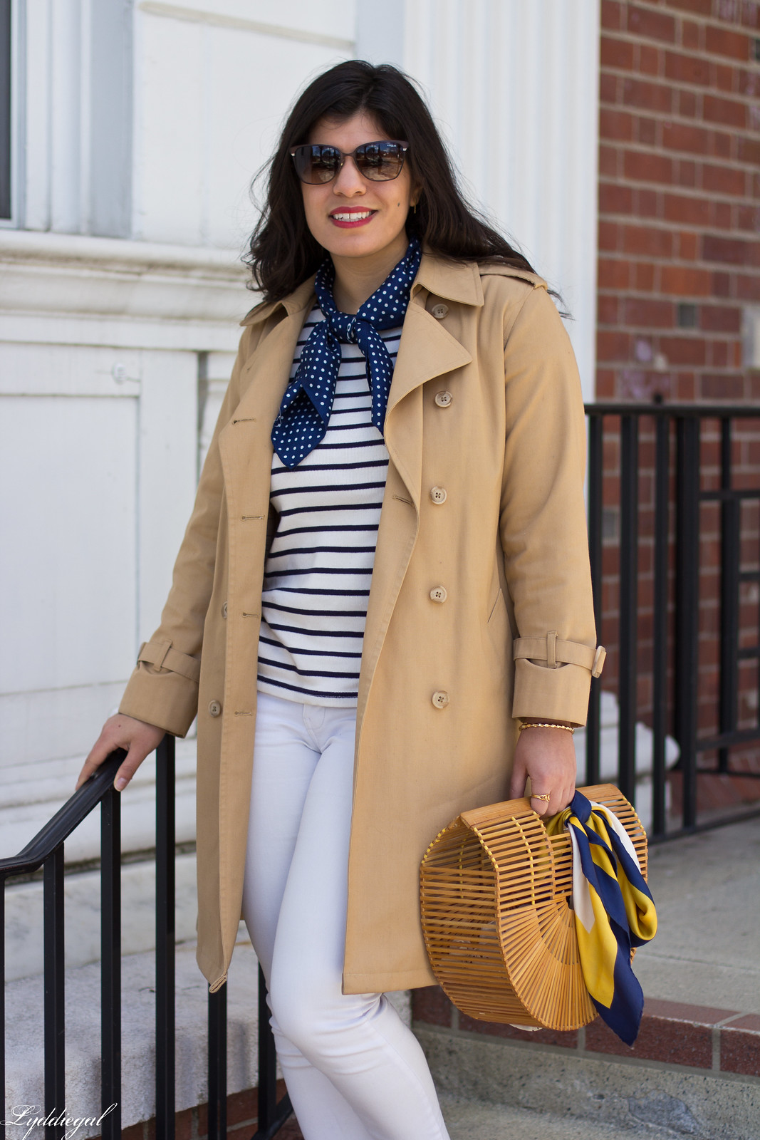 trench, striped shirt, neck scarf, white jeans, bamboo bag-8.jpg