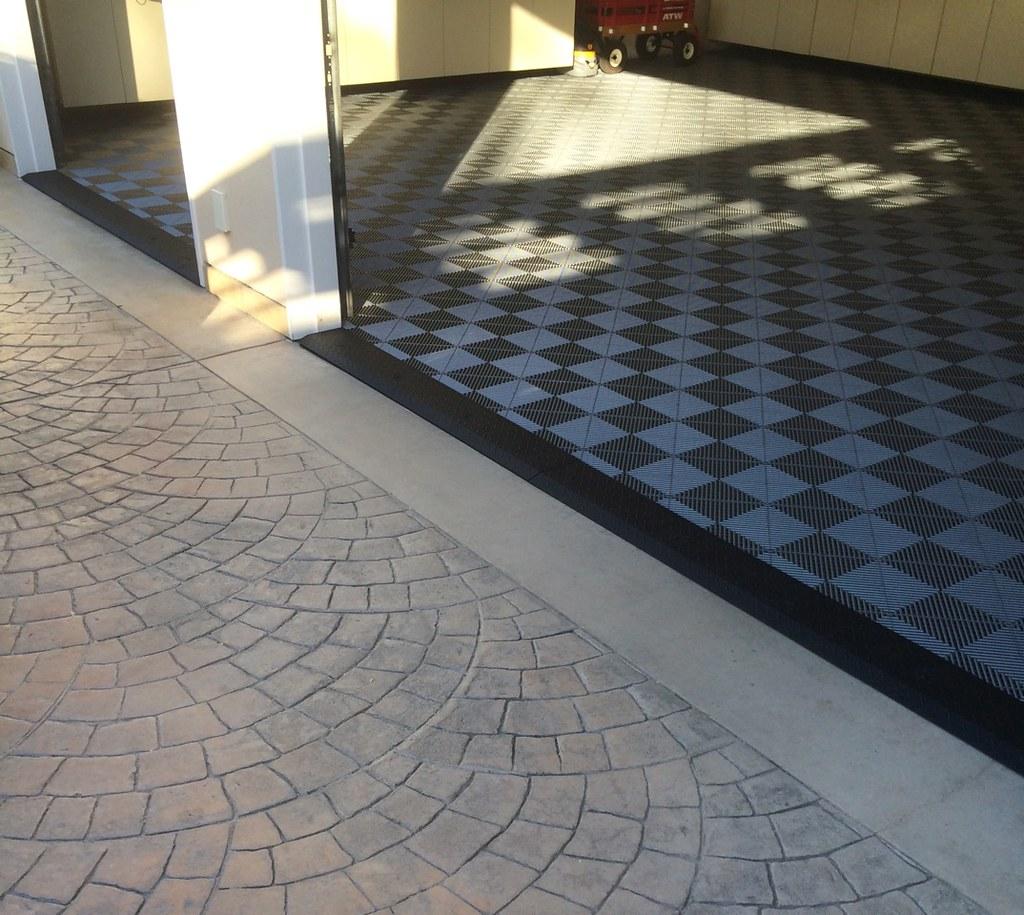 Garage with tile flooring black diamond plate transition flickr garage with tile flooring black diamond plate transition strip by diamondback truck covers dailygadgetfo Choice Image
