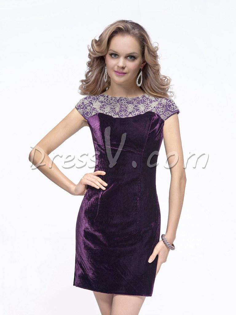 Elegant Bateau Neckline Sheath Short Chic Cocktail Dress   Flickr