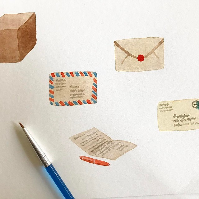 Mail themed #robayrepatterns in progress, I want to add a few more things like a stack of letters wrapped in twine and maybe more packages.