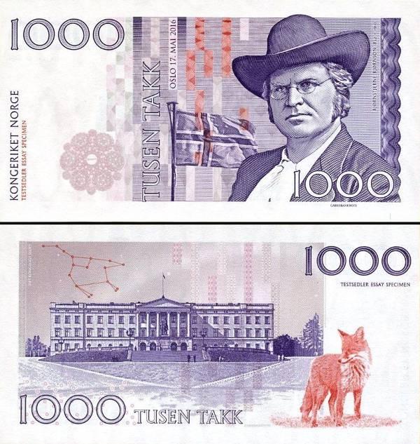 NORWAY (Nórsko) 1.000 Takk 2016 UNC specimen