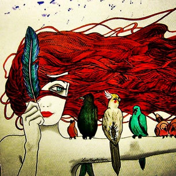 desenho art arts arte pássaros passarinhos vermelho flickr