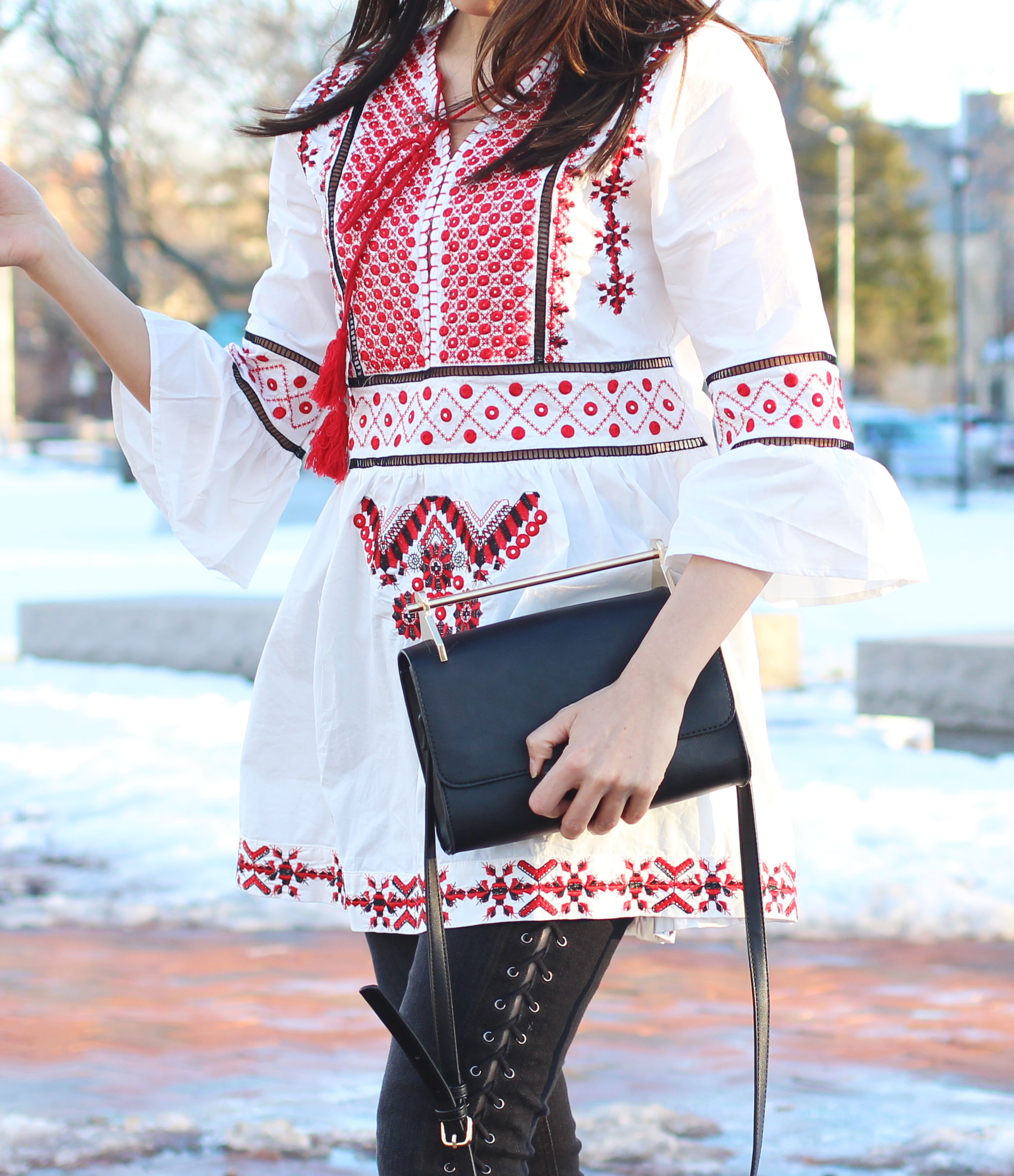 Romwe embroidered bell sleeve tunic