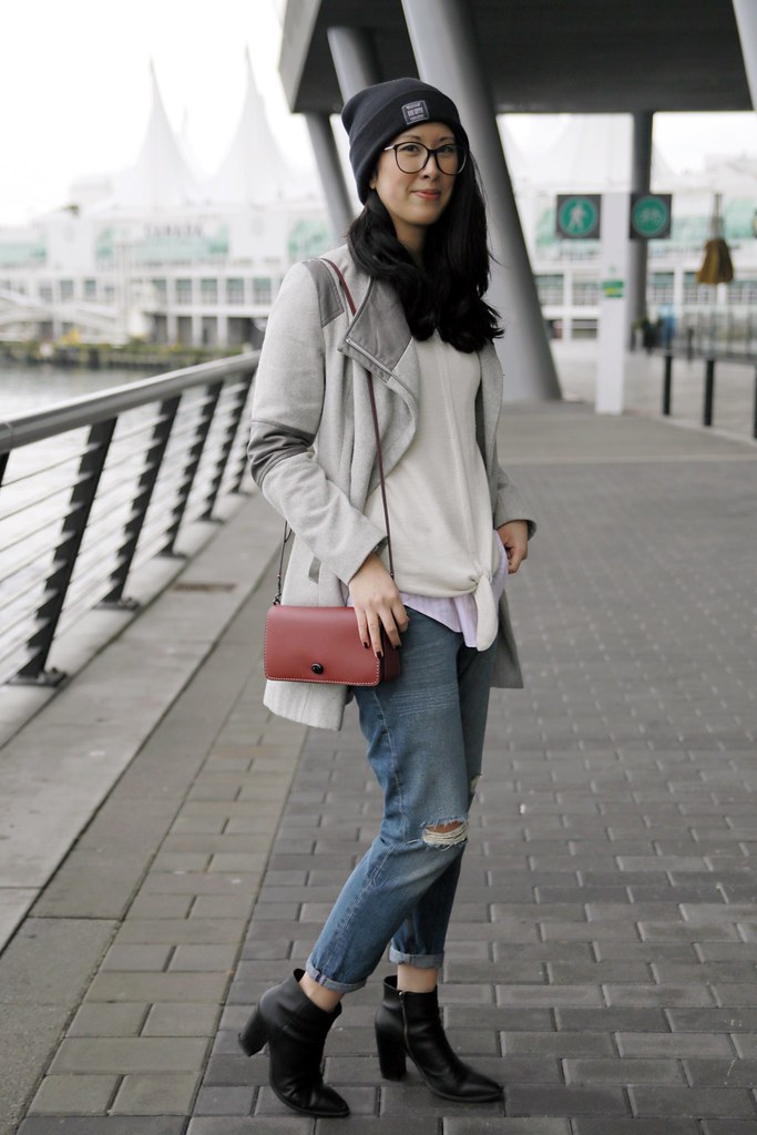 Winter to Spring layered outfit with boyfriend jeans