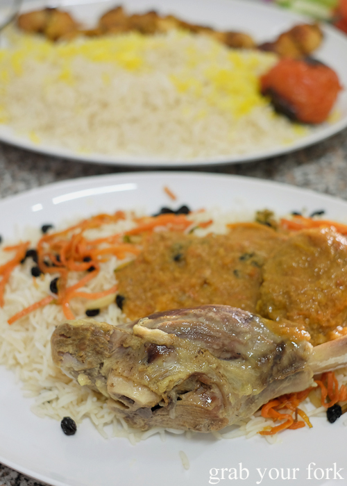 Qabuli palaw lamb shanks with pilaf rice from Afghan & Arab Bakery in Lakemba