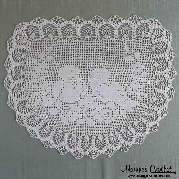 Vintage Filet Crochet Pattern Chair Backoval Doily Birds Flickr