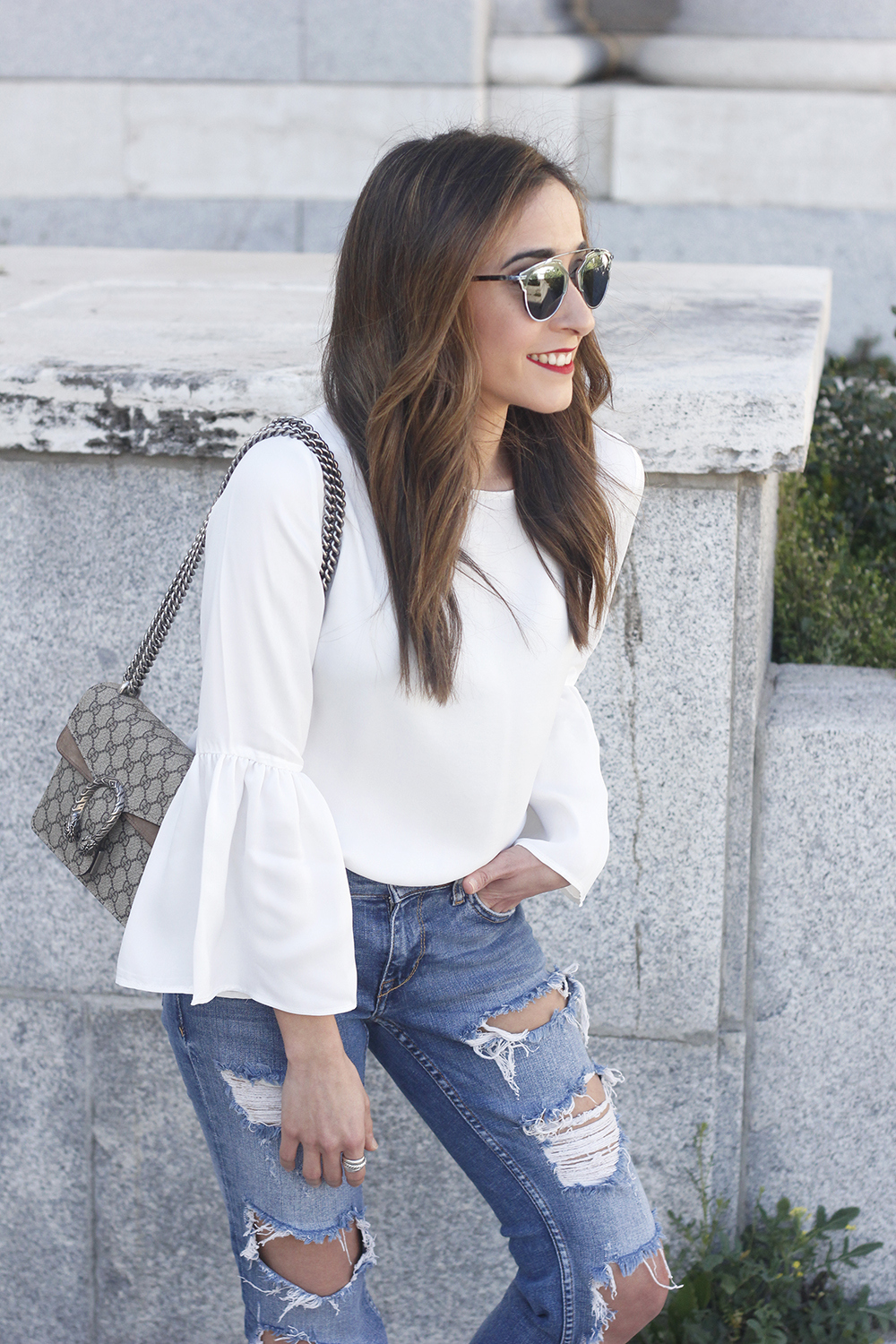 ripped keans gucci bag Jewel ballerinas uterqüe white blouse outfit style fashion04
