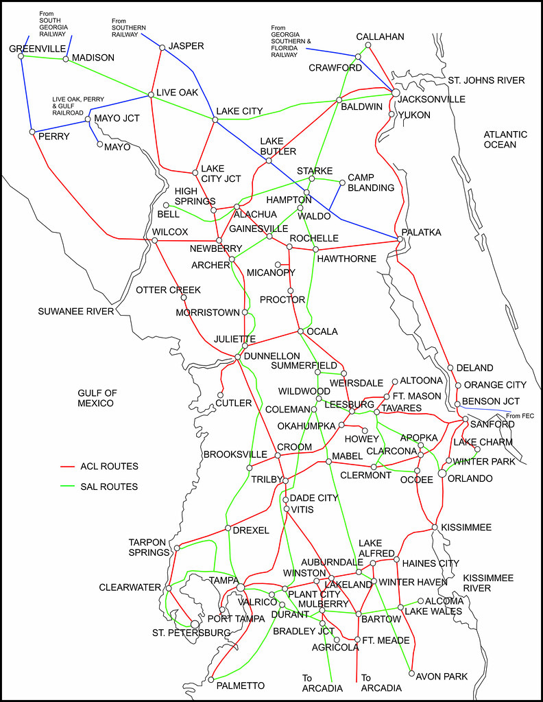 Map Of Arcadia Florida.Acl And Sal Combined Central Florida Systems Map In 1948 Flickr