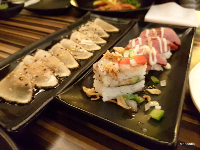 Herbal White Tuna Sashimi, Torched Duck Sushi