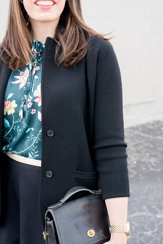 J.Crew black sweater blazer + Loft floral print shell + black Old Navy skirt + Target black heels; spring work outfit | Style On Target blog
