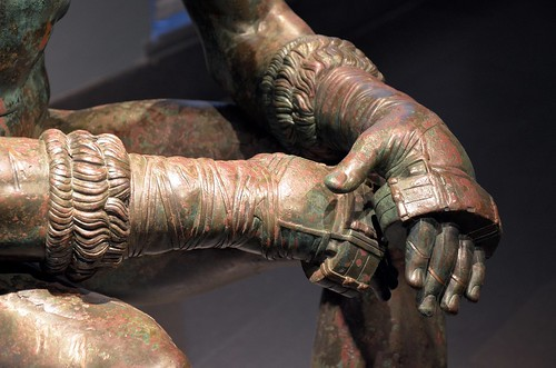 Boxer of Quirinal, Greek Hellenistic bronze sculpture of a sitting nude boxer at rest, 100-50 BC, Palazzo Massimo alle Terme, Rome | by Following Hadrian
