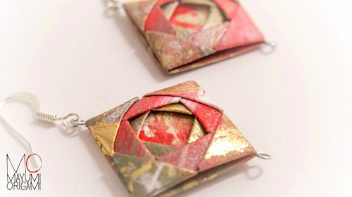 Mosaic Folded Paper Earrings by Mayumi Origami