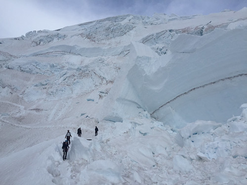 Katrina, Amir, Cameron and Victor underneath a not-small icefall on the descent | by mrjerz
