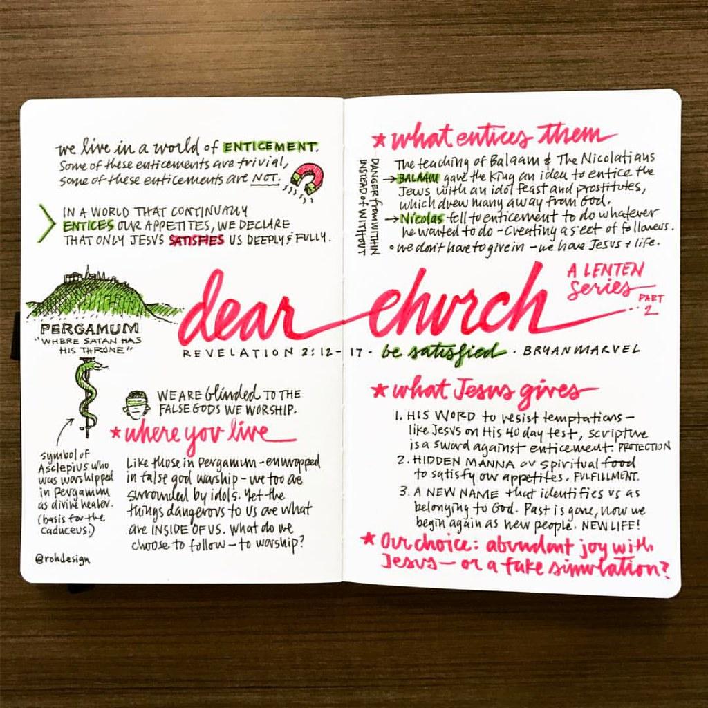 Sketchnote Of Dear Church Be Satisfied Part 2 A Lenten Series