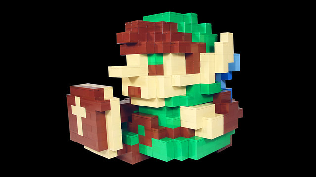 3D 8-Bit LEGO Link sprite from Legend of Zelda