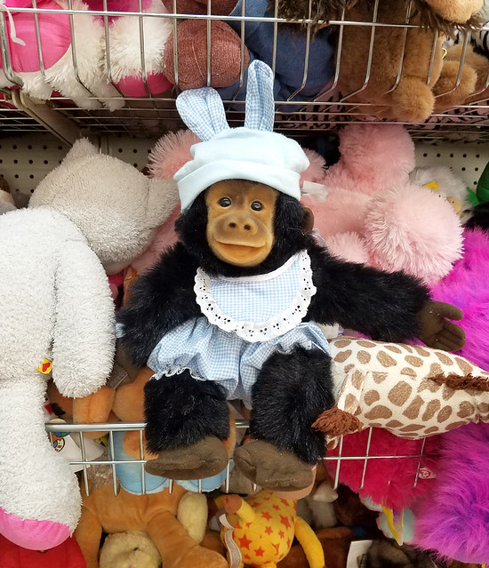 bunny chimp in dorothy dress