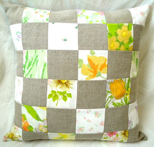 Linen patchwork pillow cover | by donna-mae