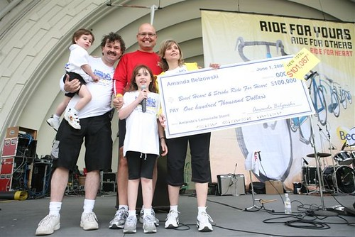 Amanda Belzowski  presenting her cheque for $101,087.18 to Heart and Stroke[1] | by www.lemonade4heart.org