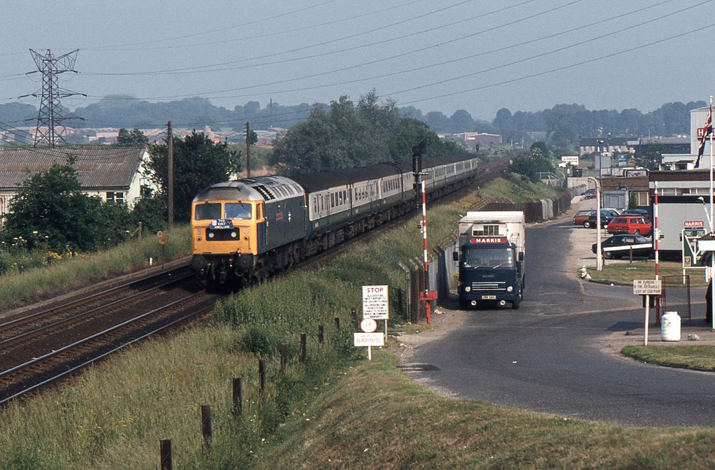 """... BR Class 47 47585 """"County of Cambridgeshire"""" approaching Ipswich with  up """"East Anglian"""