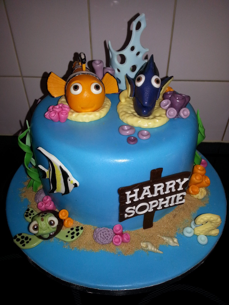 Twins under the sea 2nd birthday cake with nemo and dori x Flickr