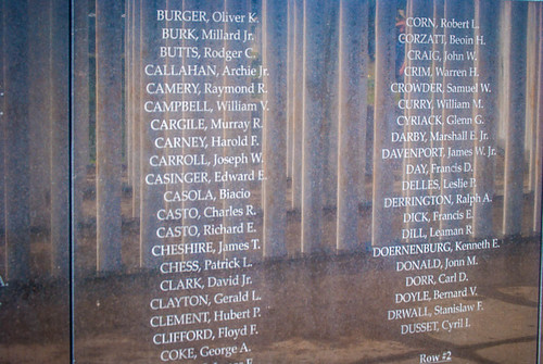 Names at USS Oklahoma Memorial