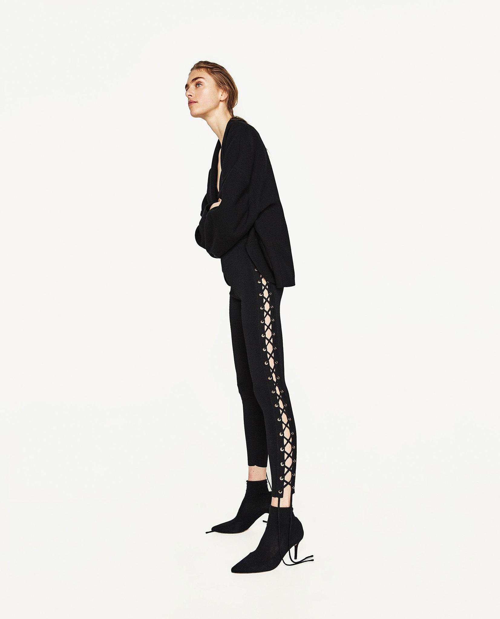 leggina con cordones laterales  Zara