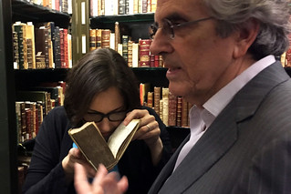 Sniffing a book at Morgan library