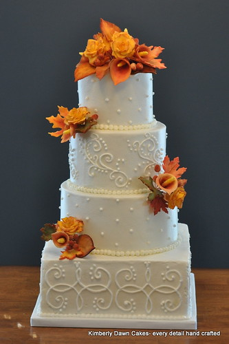 square wedding cakes with fall flowers fall wedding cake cakes flickr 20419