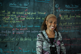Grade 11 teacher Annette teaches English to her students  at Norsup Secondary School.  AusAID supports education projects on Malekula Island. | by DFAT photo library