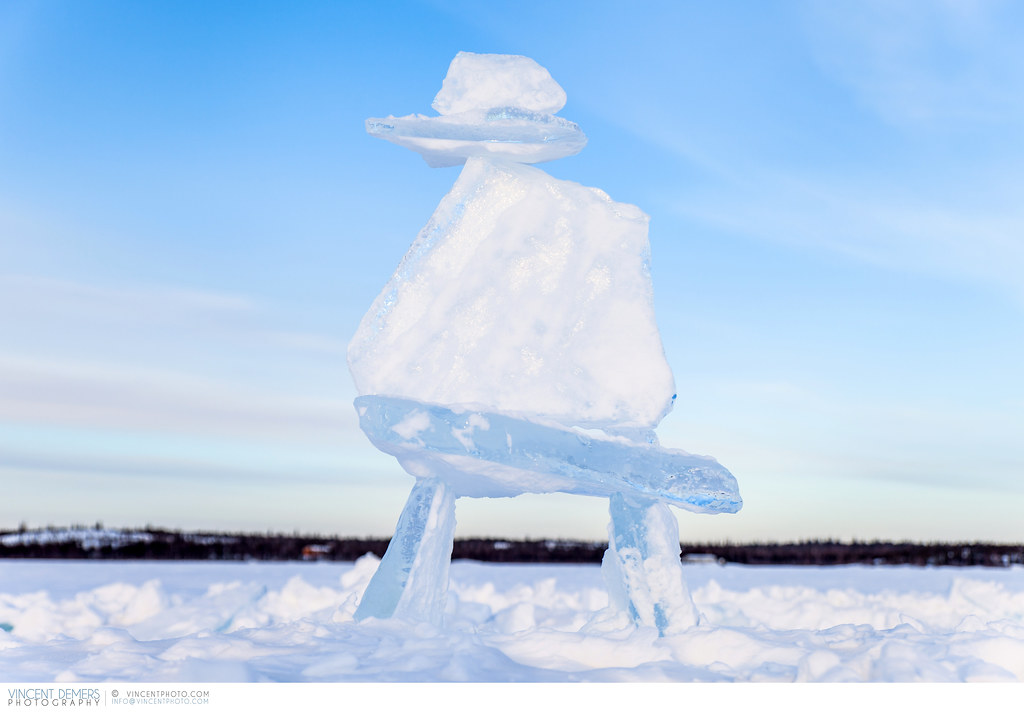Inukshuk Made Of Ice In Yellowknife Canada Inukshuk Made Flickr