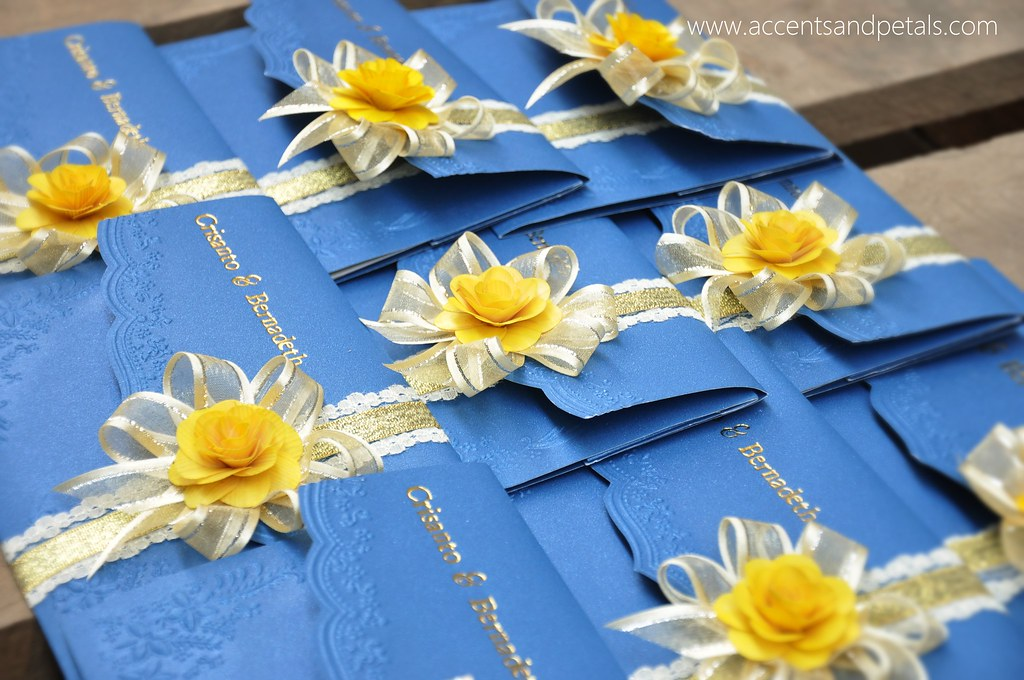Royal Blue and Yellow Wedding Invitation | www.accentsandpetals ...