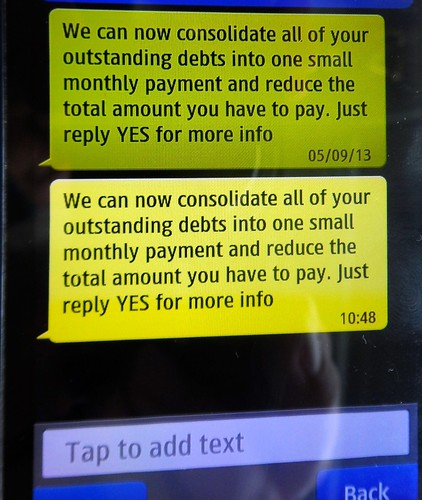 Spam text messages about debt consolidation | by Karen V Bryan