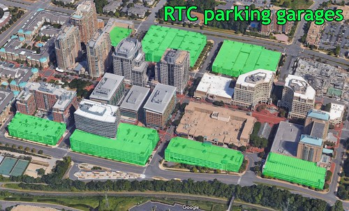 Parking structures straddle the Reston Town Center