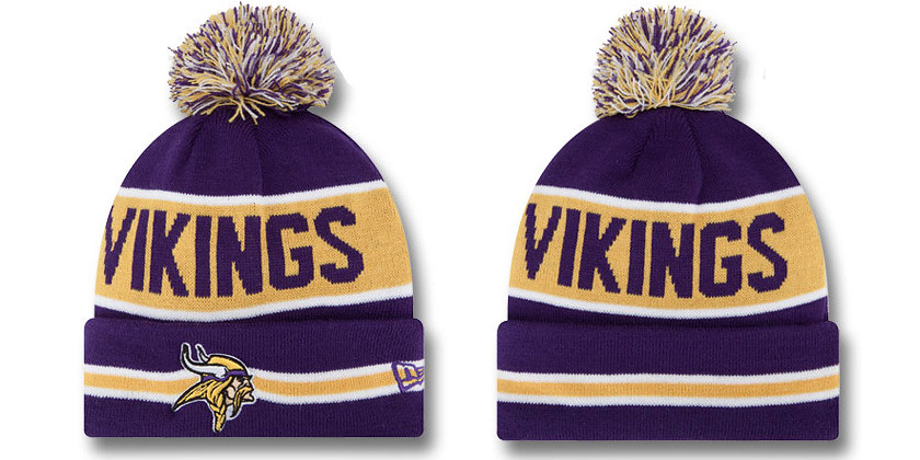 83335cd04 Minnesota Vikings Beanie Hat NFL New Era Knit Pom Caps THE…