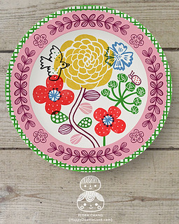 FLORA_CHANG_PinkBorderFloralPlate_1A_WEEK2 | by Flora Chang | Happy Doodle Land